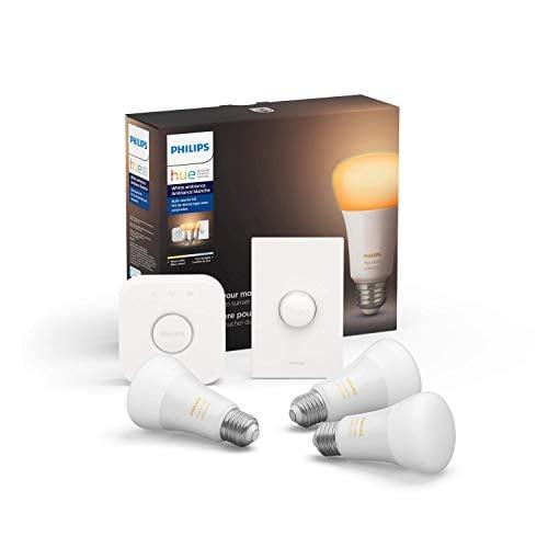 Philips Hue White Ambiance LED Smart Button Starter Kit, 3 A19 Smart Bulbs, 1...
