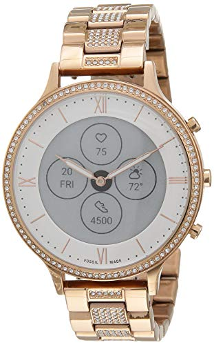 Fossil Women's 42MM Charter HR Heart Rate Stainless Steel Hybrid HR Smart Watch, Color:...