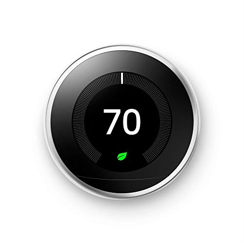 Google, T3019US, Nest Learning Thermostat, 3rd Gen, Smart Thermostat, Polished Steel,...