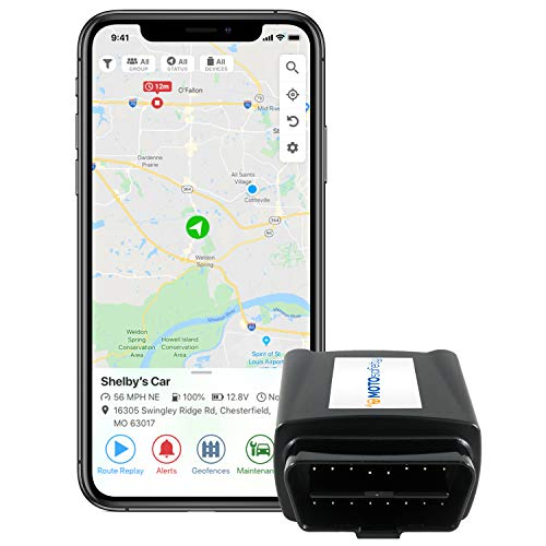 MOTOsafety OBD GPS Car Tracker, Hidden Vehicle Tracker and Monitoring System with Real...