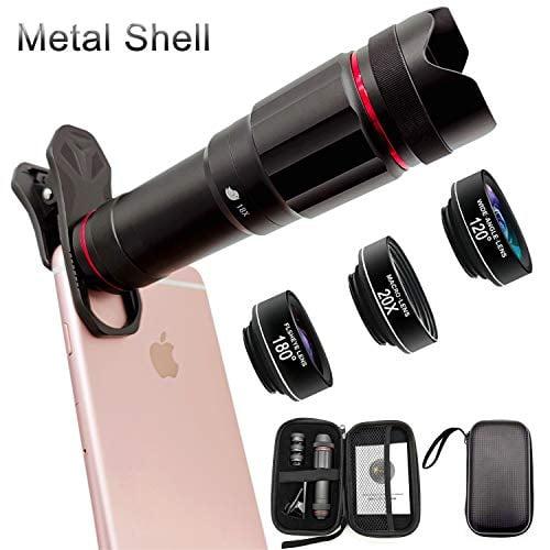Phone Camera Lens, Faireach 4 in 1 Cell Phone Lens Kit - 18X Zoom Telephoto Lens +180°...