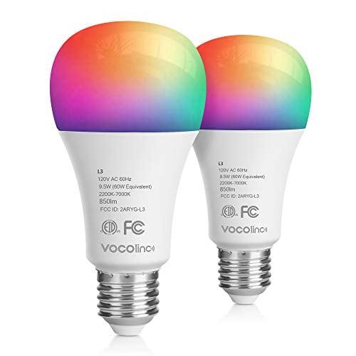 VOCOlinc Wi-Fi LED Light Bulb Works with Apple HomeKit Siri A21 9.5W(60W) Smart Multicolor...
