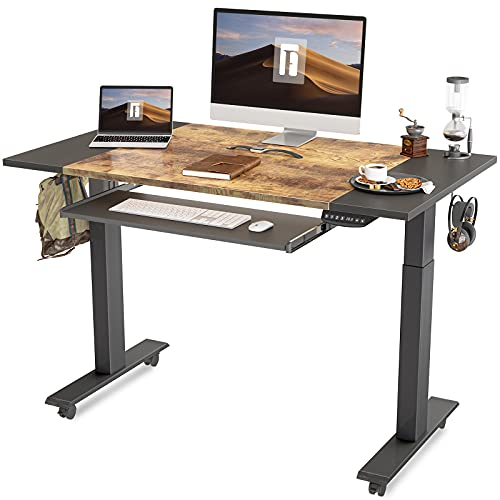 FEZIBO Dual Motor Height Adjustable Electric Standing Desk with Keyboard Tray, 48 x 24...