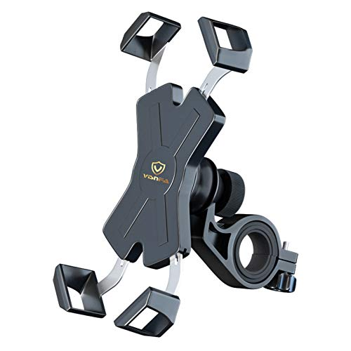 visnfa New Bike Phone Mount with Stainless Steel Clamp Arms Anti Shake and Stable 360°...