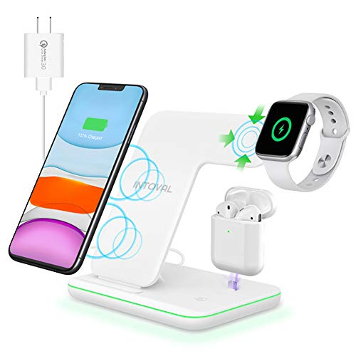 Intoval Wireless Charger, 3 in 1 Charger for iPhone/iWatch/Airpods, Qi-Certified Charging...