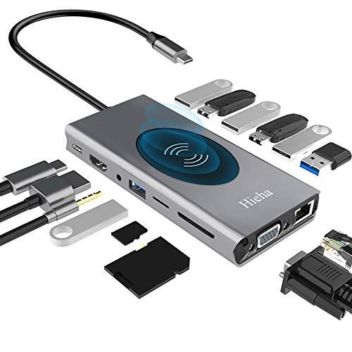Hieha USB C Hub, 15-in-1 USB C Docking Station with 4K HDMI, VGA, Ethernet, Wireless...