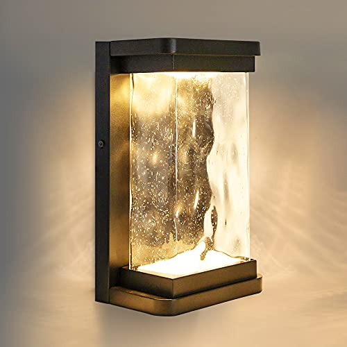 LUTEC Starry 1857 795 Lumen 3000K LED Wall Light with Seeded Glass, Modern Porch Light,...