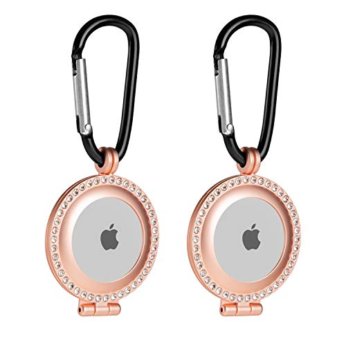 Orzero (2 Pack) Alloy Metal Case Compatible for AirTag, Rhinestone Bling Frame Protective...