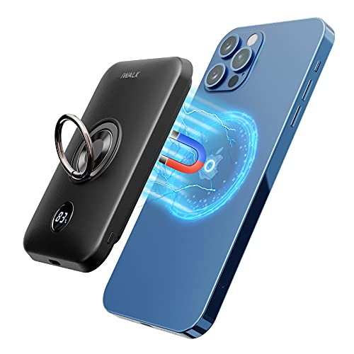 iWALK Magnetic Wireless Power Bank, 6000mAh Portable Charger with Finger Holder, Stronger...