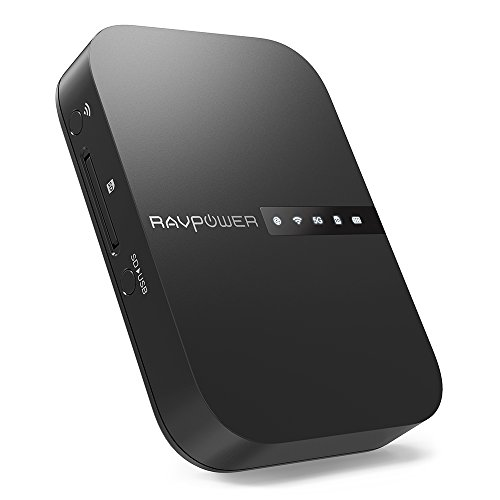 RAVPower Filehub, AC750 Wireless Travel Router, Portable Hard Drive Companion SD Card...