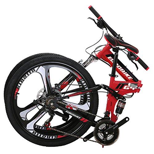 EUROBIKE EURG4 Mountain Bike 26 Inches 3 Spoke Wheels Dual Suspension Folding Bike 21...