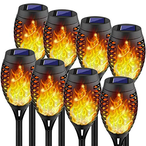 Kurifier Solar Lights Outdoor, 8Pack Solar Torch Light with Flickering Flame,...