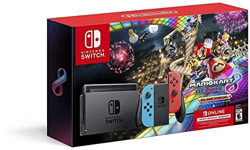 Nintendo Switch w/ Neon Blue & Neon Red Joy-Con + Mario Kart 8 Deluxe (Full Game Download)...