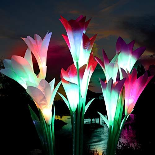 Solar Lights Outdoor Decorative,3 Pack Solar Garden Lights , 12 Bigger Lily Flowers,...