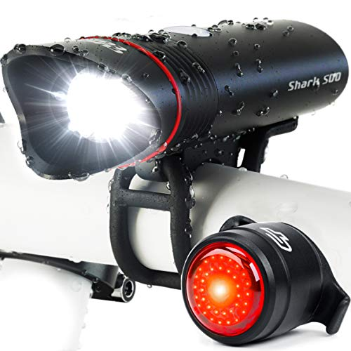 Bike Light USB Rechargeable, Cycle Torch Shark 500 Headlight & Tail Light Set, Fits All...