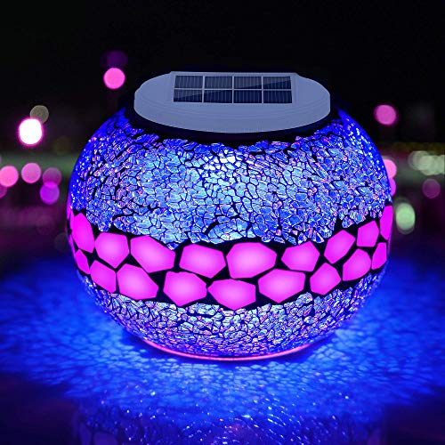 Pandawill Mosaic Solar Glass Garden Decoration Light, Rechargeable Color-Changing Solar...