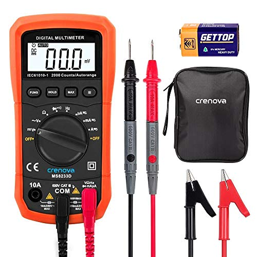Crenova MS8233D Auto-Ranging Digital Multimeter Home Measuring Tools with Backlight LCD...