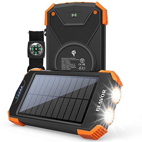 Solar Power Bank, Qi Portable Charger 10,000mAh External Battery Pack Type C Input Port...