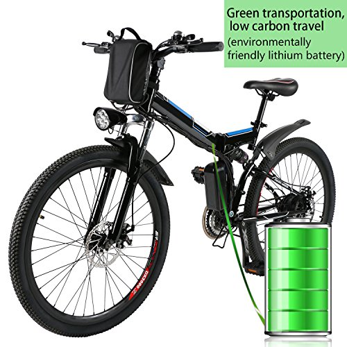 26'' Electric Folding Mountain Bike with Removable 36V 8AH Lithium-Ion Battery 250W Motor...