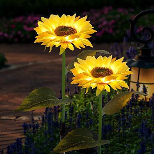 FORUP 2 Pack Solar Garden Stake Lights, Outdoor Sunflower Lights, LED Solar Powered Lights...