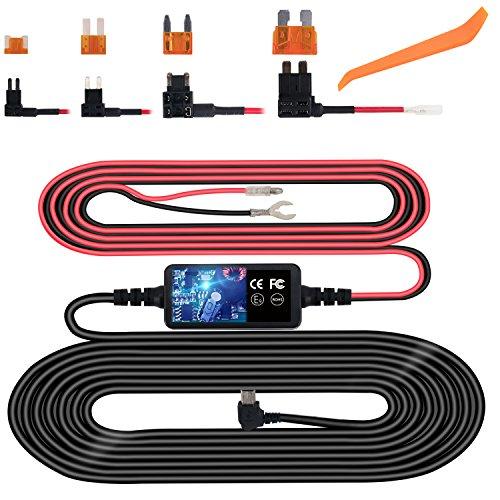 Dash Cam Hardwire Kit, Mini USB Hard Wire Kit Fuse for Dashcam, Plozoe 12V-24V to 5V Car...