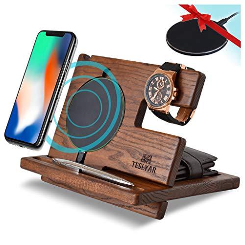 TESLYAR Wood Phone Docking Station Ash Key Holder Wallet Stand Watch Organizer Men Gift...