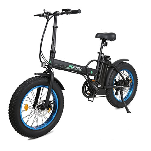 ECOTRIC Fat Tire Folding Electric Mountain Bike 36V 12Ah Removable Lithium Battery Beach...
