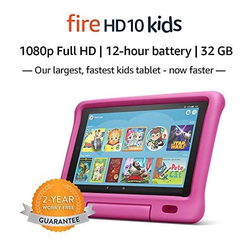 "Fire HD 10 Kids Tablet – 10.1"" 1080p full HD display, 32 GB, Pink Kid-Proof Case (2019..."