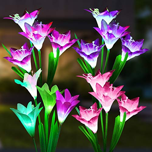 Solar Lights Outdoor, 4 Pack Solar Garden Lights Waterproof with 16 Lily Flowers, 7 Color...