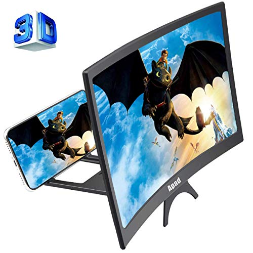 12'' 3D Curve Screen Magnifier for Cell Phone, HD Amplifier Projector Magnifing Screen...