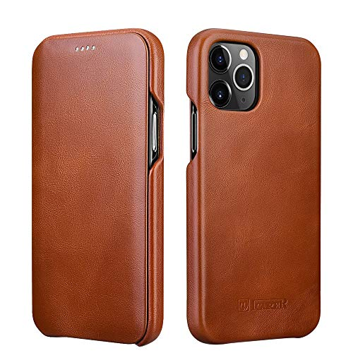 ICARER Compatible with iPhone 12 Case&iPhone 12 Pro Leather Case,Genuine Leather Flip...