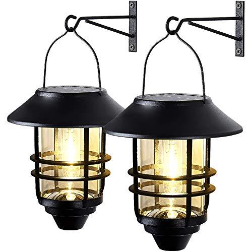 2 Pack Wall Light Solar Lantern Wall Lights Fixtures, Solar Powered Porch Light, 15 Lumen...