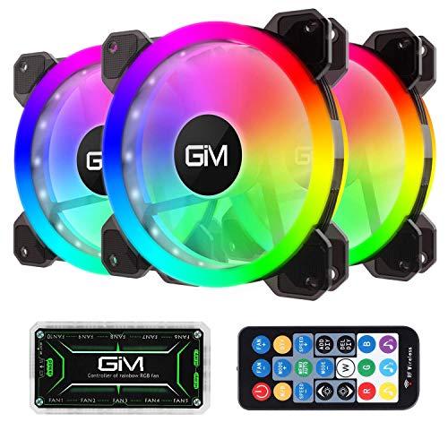 GIM KB-23 RGB Case Fans, 3 Pack 120mm Quiet Computer Cooling PC Fans, Music Rhythm 5V ARGB...