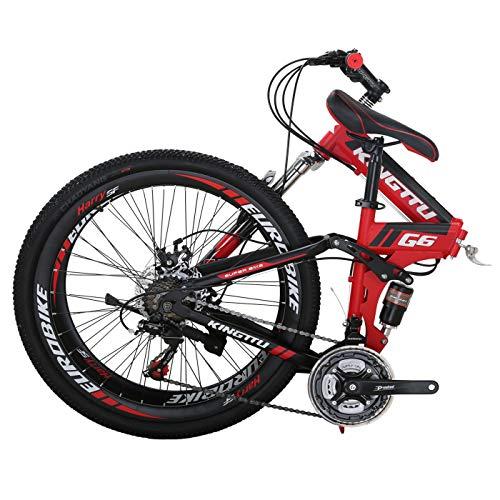 Kingttu G6 Mountain Bike 21 Speed 26 Inches Regular Spoke Wheels Dual Suspension Folding...