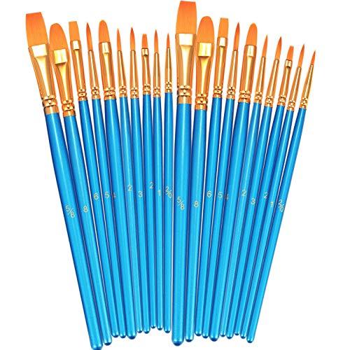 BOSOBO Paint Brushes Set, 2 Pack 20 Pcs Round Pointed Tip Paintbrushes Nylon Hair Artist...