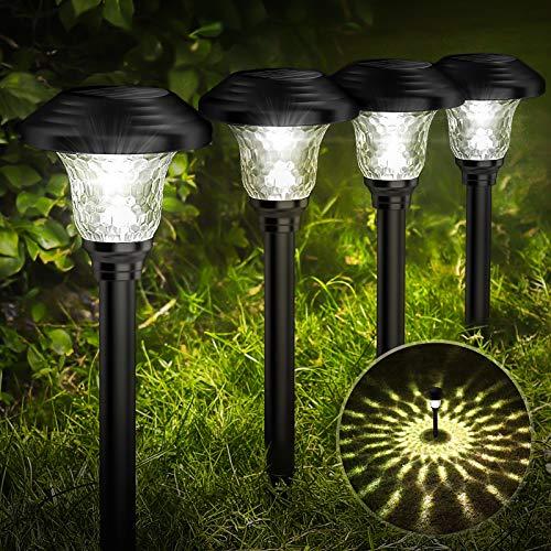 Balhvit Glass Solar Lights Outdoor, 8 Pack Super Bright Solar Pathway Lights, Up to 12 Hrs...