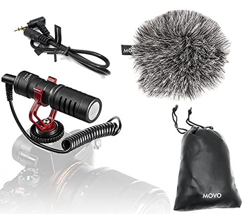Movo VXR10 Universal Video Microphone with Shock Mount, Deadcat Windscreen, Case for...