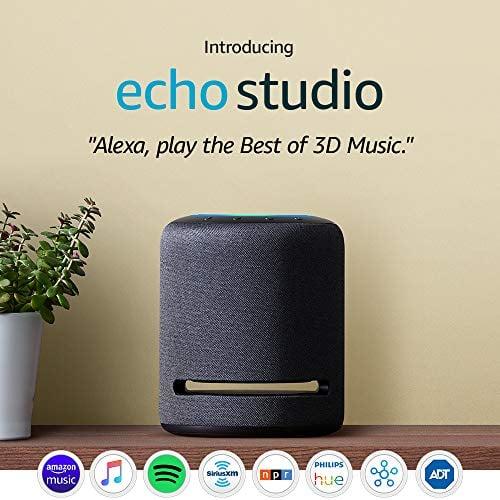 Echo Studio – High-fidelity smart speaker with Philips Hue Bulb – Alexa...