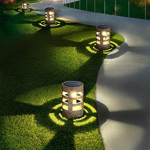 Solar Lights Outdoor Decorative (4pcs), Auto-Work Stone Imitation Solar Garden Lights,...