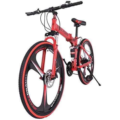 Lroplie R2 26in Folding Mountain Bike,Full Suspension Road Bikes with Disc Brakes,21 Speed...