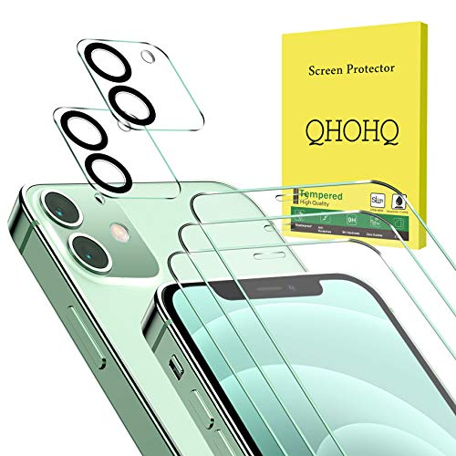 QHOHQ 3 Pack Screen Protector for iPhone 12 [6.1 Inch] with 2 Packs Tempered Glass Camera...