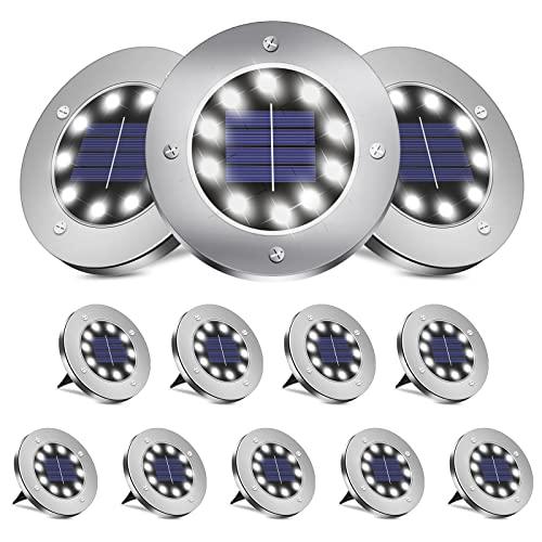 BROOM Solar Ground Lights (12 Packs), Solar Lights Outdoor Bright 10 LED Disk Lights...