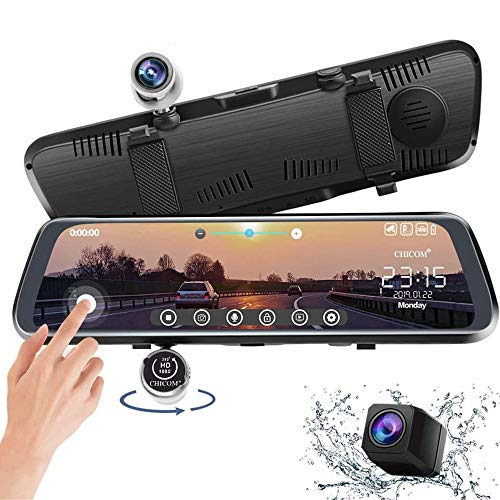CHICOM 9.66 inch Mirror Dash Cam Touch Full Screen ; 1080P 170° Full HD Front...