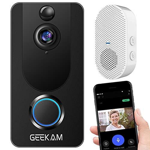 GeeKam Wireless Video Doorbell Camera with Indoor Chime & Free Cloud Storage, 1080P Video,...