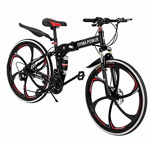 Sagton Outroad Mountain Bike, Outdoor Foldable Lightweight 21 Speed Gears 26'' Double Disc...