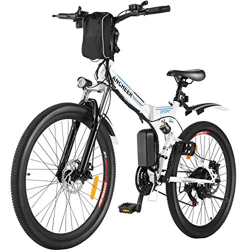 ANCHEER Folding Electric Mountain Bike, 26'' Electric Bike with 36V 8Ah Lithium-Ion...