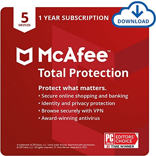 McAfee Total Protection 2022   5 Device   Antivirus Internet Security Software   VPN,...