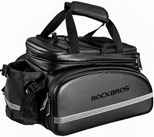 ROCKBROS Bike Rack Bag Trunk Bag Waterproof Carbon Leather Bicycle Rear Seat Cargo Bag...