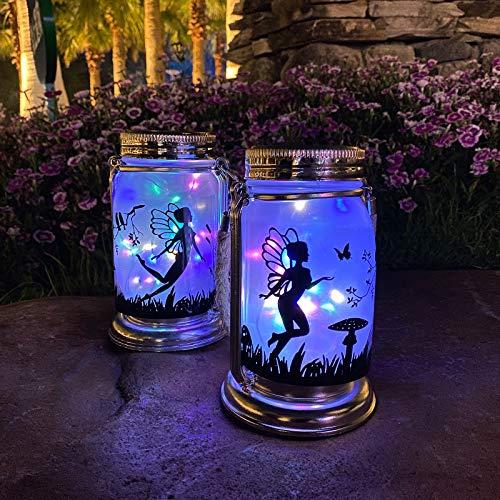 ANGMLN Solar Fairy Lantern Garden Decorations- 2 Pack Outdoor Fairies Night Lights Gifts...