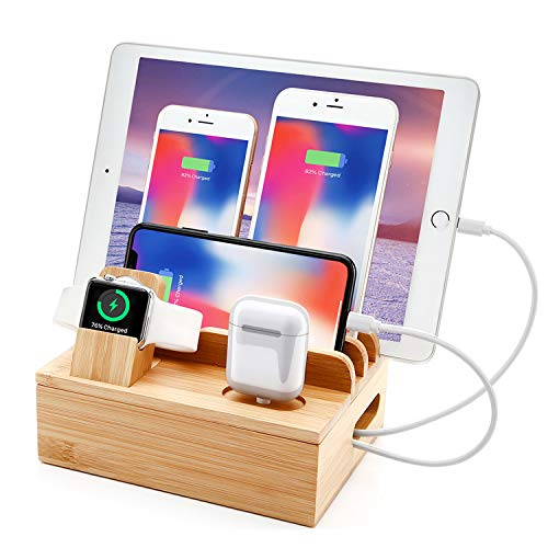 Bamboo Charging Station for Multi Device With 5 USB Charger Port Sendowtek 6 in 1 USB...
